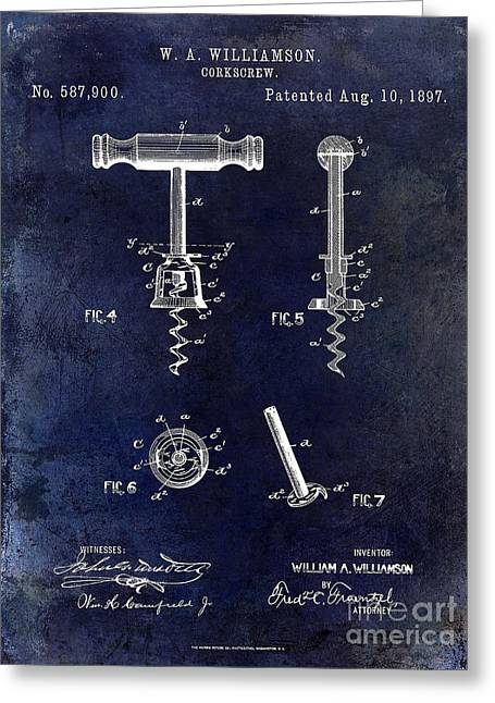 Merlot Greeting Cards - Corkscrew Patent 1897 Blue Greeting Card by Jon Neidert