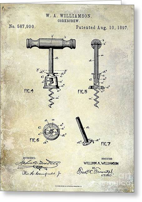 Cigar Greeting Cards - Corkscrew Patent 1897 Greeting Card by Jon Neidert
