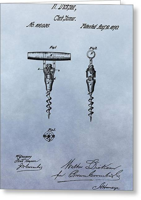 Wine Pour Greeting Cards - Corkscrew Patent Greeting Card by Dan Sproul