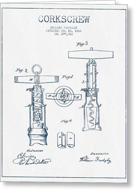 Corkscrew Art Greeting Cards - Corkscrew patent Drawing from 1862 - Blue Ink Greeting Card by Aged Pixel