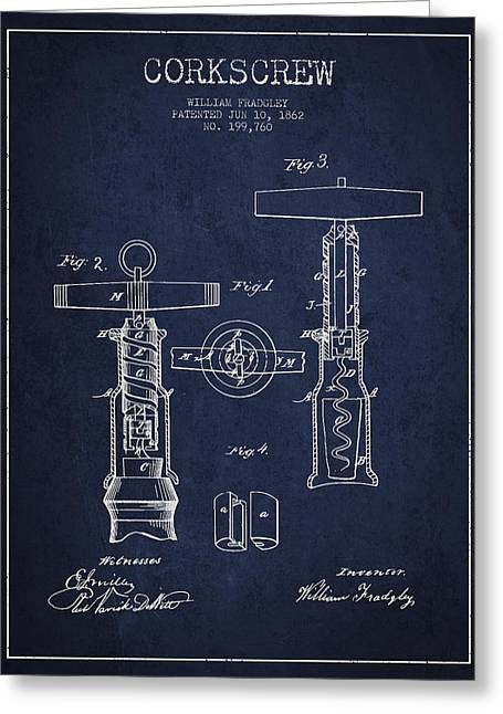 Corkscrew Art Greeting Cards - Corkscrew patent Drawing from 1862 - Navy Blue Greeting Card by Aged Pixel