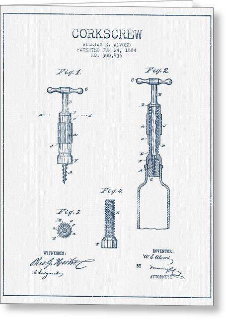 Corkscrew Art Greeting Cards - Corkscrew patent Drawing from 1884- Blue Ink Greeting Card by Aged Pixel