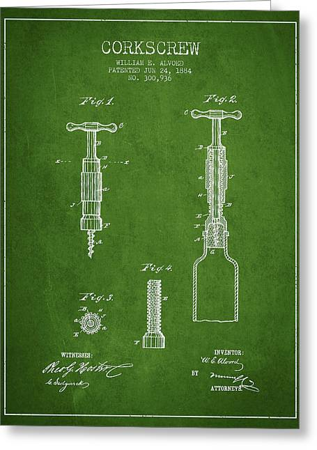 Wine Illustrations Greeting Cards - Corkscrew patent Drawing from 1884 - Green Greeting Card by Aged Pixel