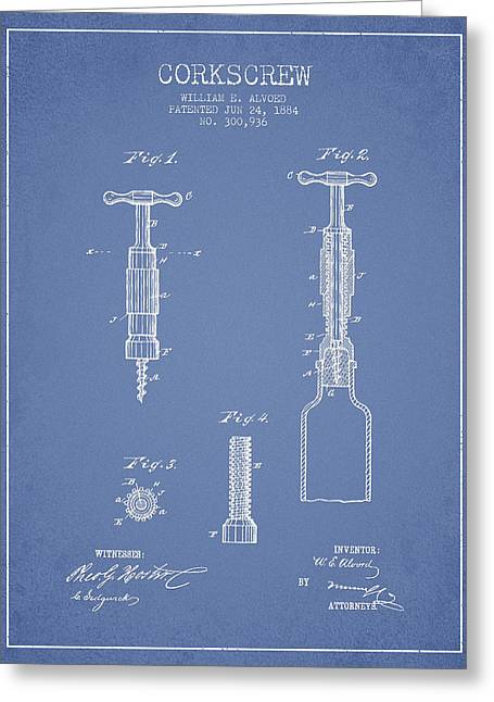 Wine Room Greeting Cards - Corkscrew patent Drawing from 1884 - Light Blue Greeting Card by Aged Pixel