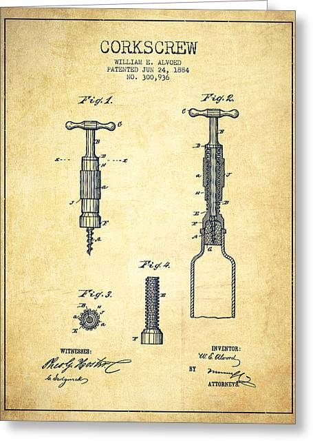 Wine Illustrations Greeting Cards - Corkscrew patent Drawing from 1884 - Vintage Greeting Card by Aged Pixel