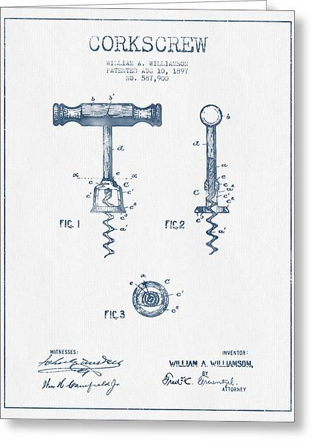 Corkscrew Art Greeting Cards - Corkscrew patent Drawing from 1897 - Blue Ink Greeting Card by Aged Pixel