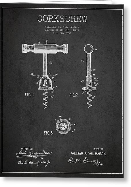 Wine-bottle Digital Greeting Cards - Corkscrew patent Drawing from 1897 - Dark Greeting Card by Aged Pixel