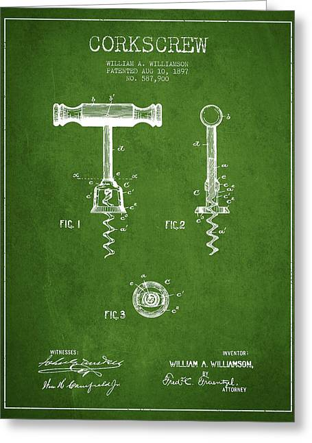 Corkscrew Art Greeting Cards - Corkscrew patent Drawing from 1897 - Green Greeting Card by Aged Pixel