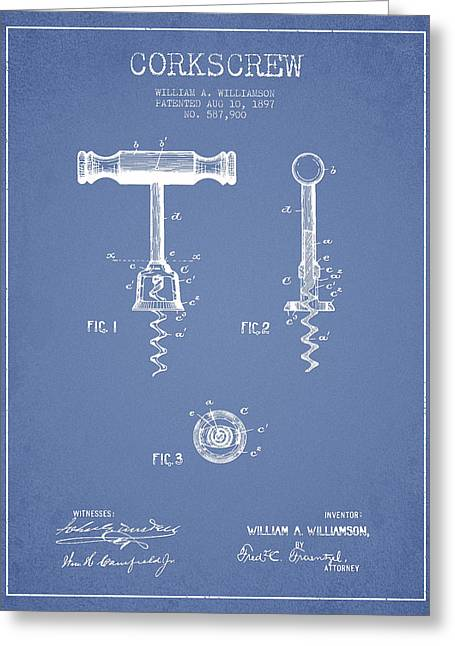 Corkscrew Art Greeting Cards - Corkscrew patent Drawing from 1897 - Light Blue Greeting Card by Aged Pixel