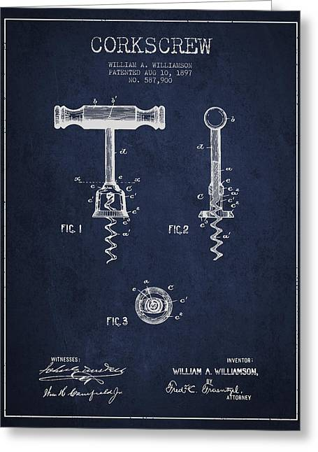 Corkscrew Art Greeting Cards - Corkscrew patent Drawing from 1897 - navy Blue Greeting Card by Aged Pixel