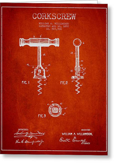 Corkscrew Art Greeting Cards - Corkscrew patent Drawing from 1897 - Red Greeting Card by Aged Pixel