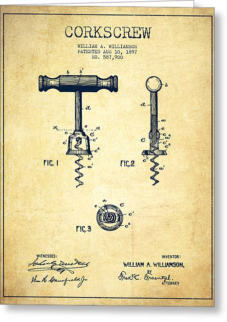 Corkscrew Art Greeting Cards - Corkscrew patent Drawing from 1897 - Vintage Greeting Card by Aged Pixel