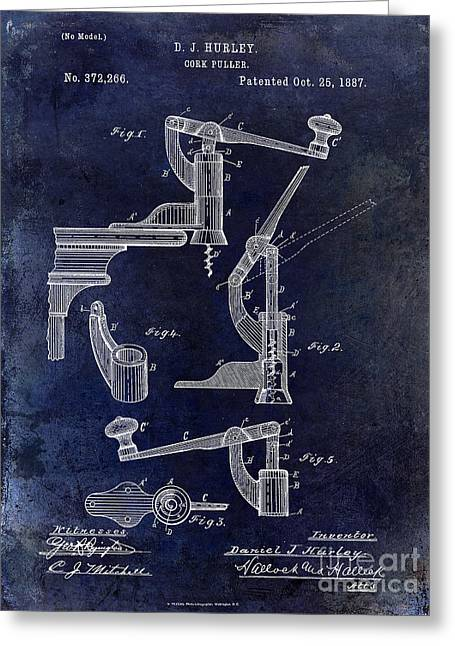 Wine Country. Greeting Cards - 1887 Corkscrew Patent drawing Greeting Card by Jon Neidert