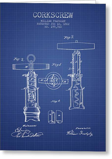 Corkscrew Art Greeting Cards - Corkscrew patent from 1862- Blueprint Greeting Card by Aged Pixel