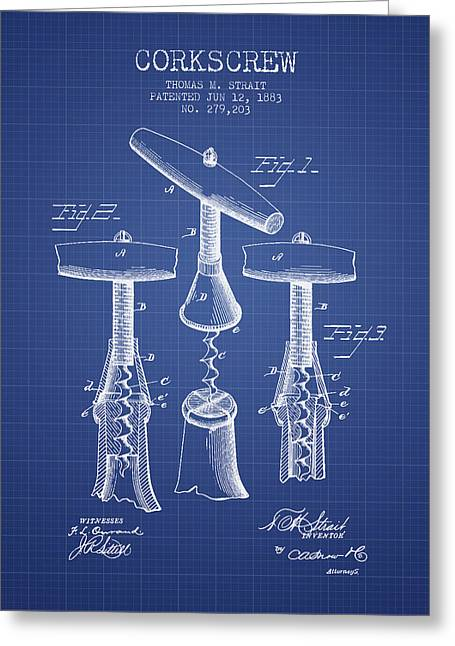Corkscrew Art Greeting Cards - Corkscrew patent from 1883- Blueprint Greeting Card by Aged Pixel