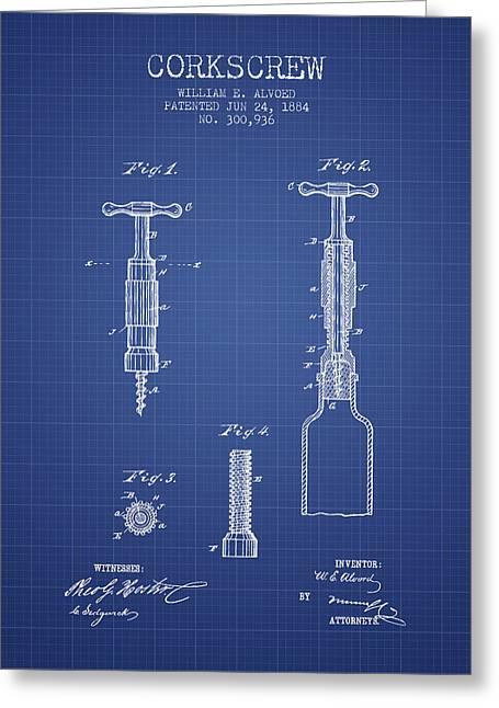 Corkscrew Art Greeting Cards - Corkscrew patent from 1884- Blueprint Greeting Card by Aged Pixel