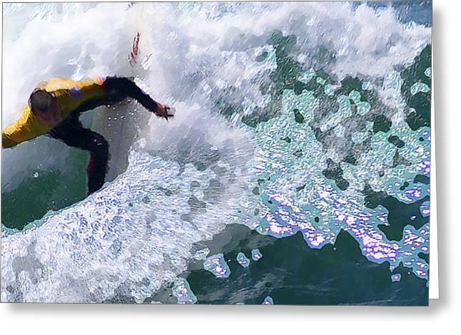 Surfing Contest Greeting Cards - Corkscrew Greeting Card by Ron Regalado