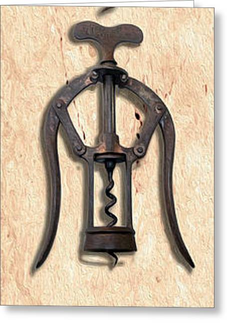 Cabernet Sauvignon Mixed Media Greeting Cards - Corkscrews Painting Vertical Greeting Card by Jon Neidert