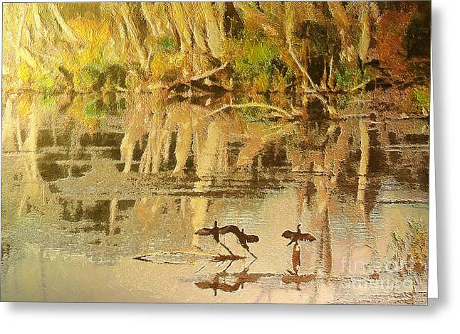 Surf Silhouette Paintings Greeting Cards - Cormorants Greeting Card by Odon Czintos