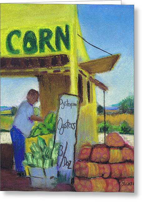 North Fork Greeting Cards - Corn and Oysters Farmstand Greeting Card by Susan Herbst