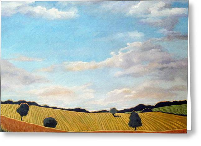 Linda Apple Paintings Greeting Cards - Corn and Wheat - landscape Greeting Card by Linda Apple