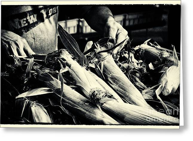 Filmnoir Greeting Cards - Corn Cobs at the Market New York City Greeting Card by Sabine Jacobs