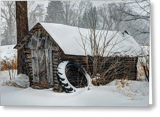 Tractor Tire Greeting Cards - Corn Crib Greeting Card by Paul Freidlund