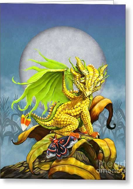 Corn Dragon Greeting Card by Stanley Morrison