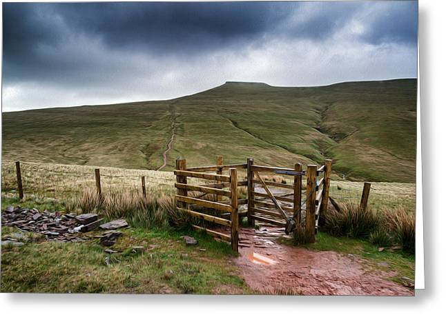 Height Greeting Cards - Corn Du Brecon Beacons landscape digtial painting Greeting Card by Matthew Gibson