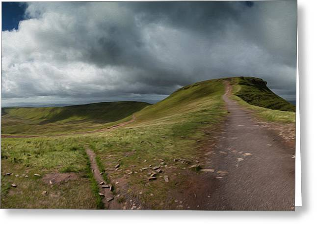 Brecon Beacons Greeting Cards - Corn Du Peak in Brecon Beacons landscape digital painting  Greeting Card by Matthew Gibson