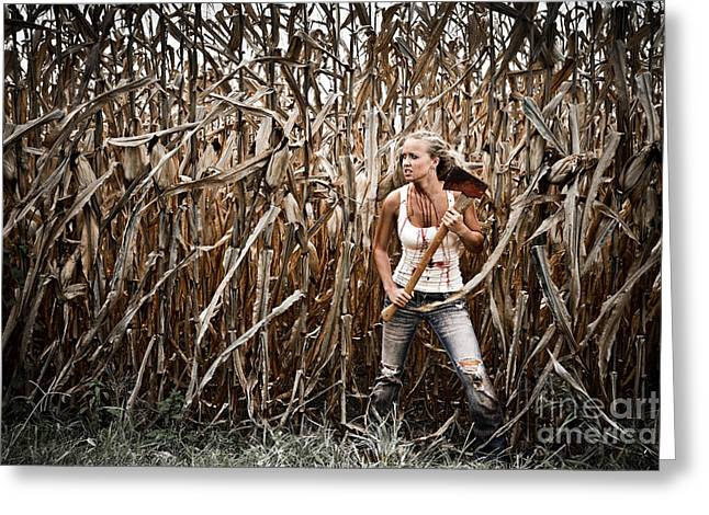 Book Cover Art Greeting Cards - Corn Field Fear Greeting Card by Jt PhotoDesign