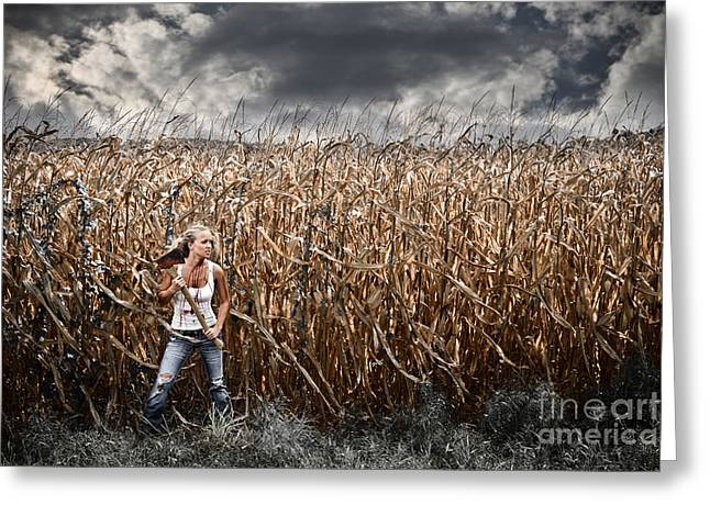 Corn Field Horror Greeting Card by Jt PhotoDesign