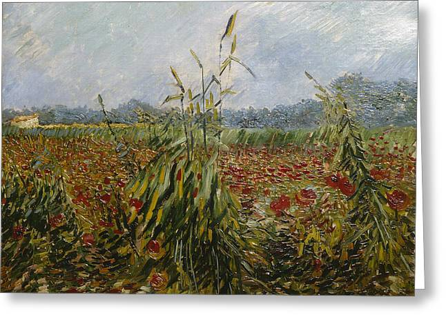 Post-impressionism Greeting Cards - Corn Fields And Poppies, 1888 Greeting Card by Vincent van Gogh