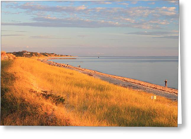 Cape Cod Bay Greeting Cards - Corn Hill Beach and Cape Cod Bay Evening Light Greeting Card by John Burk