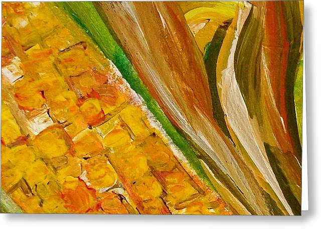 Vegetables Greeting Cards - Corn in the Husk Greeting Card by Eloise Schneider