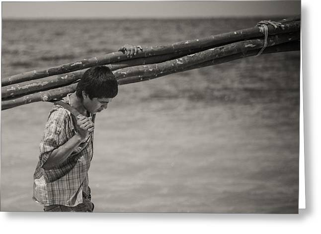 Sweating Photographs Greeting Cards - Corn Island Boy Greeting Card by Adriana Green