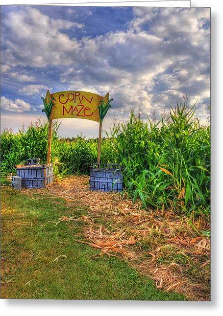 Countrylife Greeting Cards - Corn Maze Greeting Card by Joann Vitali