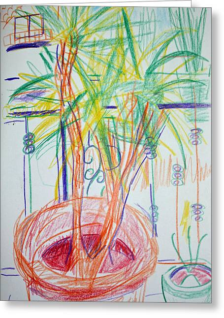 Potted Plants Drawings Greeting Cards - Corn Plant on Balcony Greeting Card by Anita Dale Livaditis