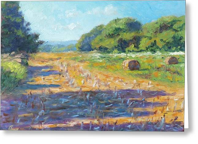 Hay Bales Paintings Greeting Cards - Corn Stubble in Late July Greeting Card by Michael Camp