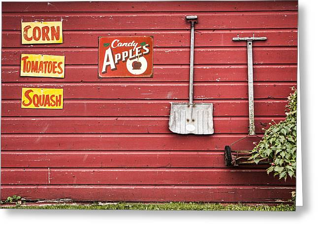 Sweet Spot Greeting Cards - Corn. Tomatoes. Squash - Americana - Old Farm Signs Greeting Card by Gary Heller