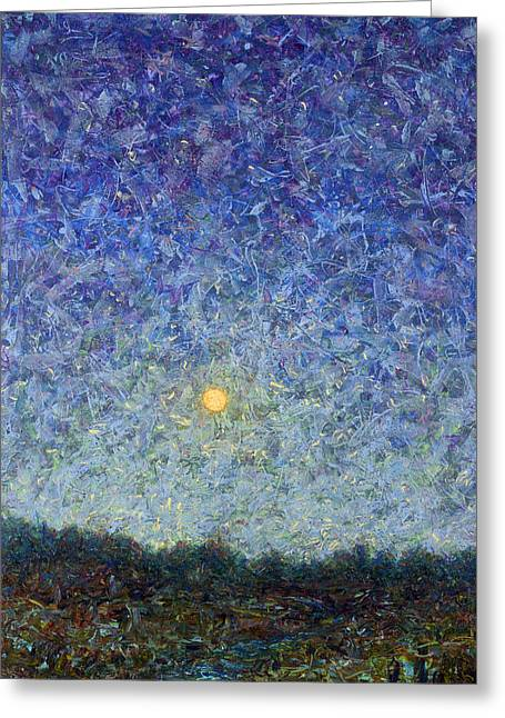 Nightscapes Greeting Cards - Cornbread Moon Greeting Card by James W Johnson