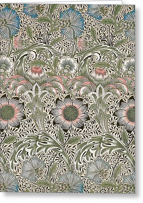 Print Tapestries - Textiles Greeting Cards - Corncockle Design Greeting Card by William Morris
