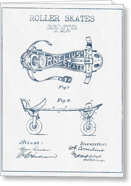 Roller Skates Greeting Cards - Cornelius Roller Skate Patent Drawing from 1881  - Blue Ink Greeting Card by Aged Pixel