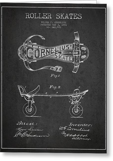 Antique Skates Greeting Cards - Cornelius Roller Skate Patent Drawing from 1881 - Dark Greeting Card by Aged Pixel