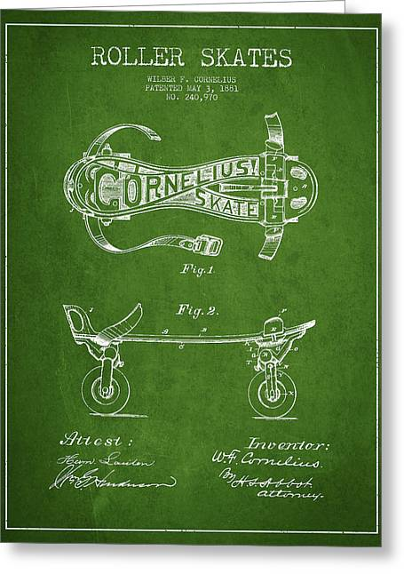 Antique Skates Greeting Cards - Cornelius Roller Skate Patent Drawing from 1881 - Green Greeting Card by Aged Pixel