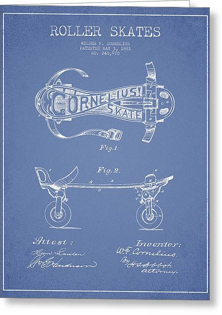 Antique Skates Greeting Cards - Cornelius Roller Skate Patent Drawing from 1881 - Light Blue Greeting Card by Aged Pixel