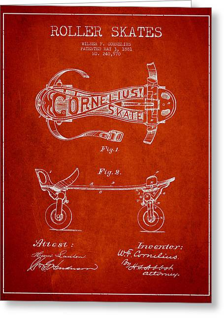 Antique Skates Greeting Cards - Cornelius Roller Skate Patent Drawing from 1881 - Red Greeting Card by Aged Pixel