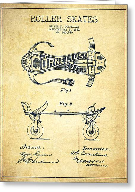 Roller Skates Digital Art Greeting Cards - Cornelius Roller Skate Patent Drawing from 1881 - Vintage Greeting Card by Aged Pixel