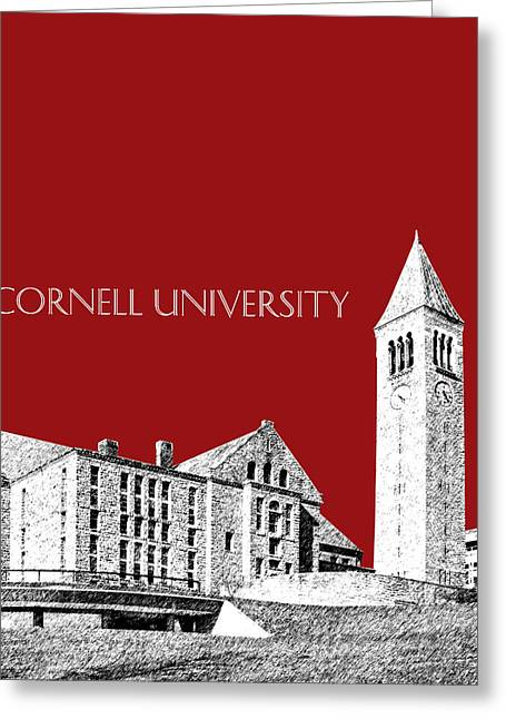 Dark Red Greeting Cards - Cornell University - Dark Red Greeting Card by DB Artist