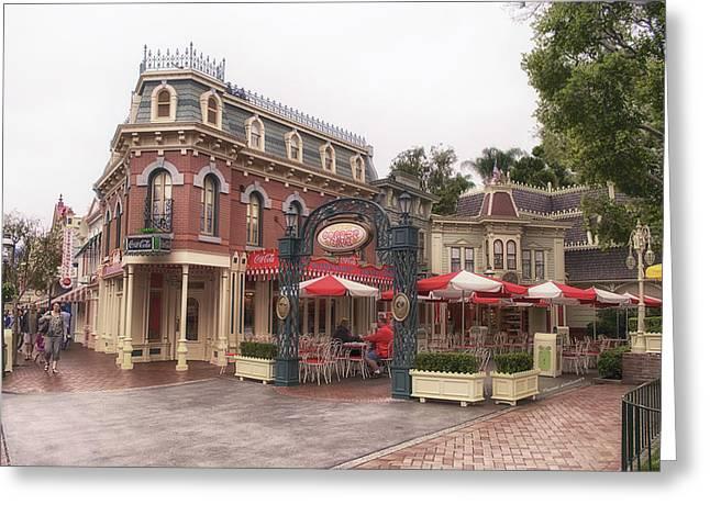 Amusements Greeting Cards - Corner Cafe Main Street Disneyland 02 Greeting Card by Thomas Woolworth